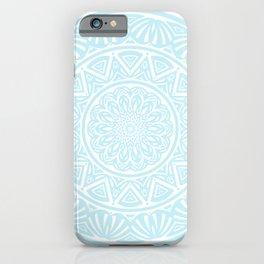 Light Sky Blue Aqua Simple Simplistic Mandala Design Ethnic Tribal Pattern iPhone Case