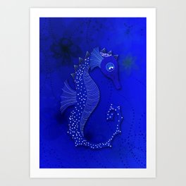 The white Sea Horse Art Print