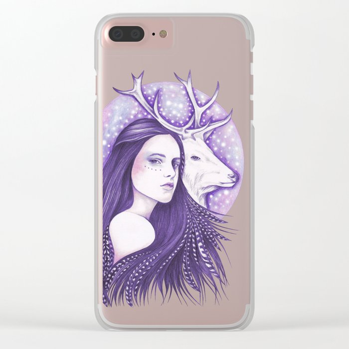 Deer Spirit Clear iPhone Case