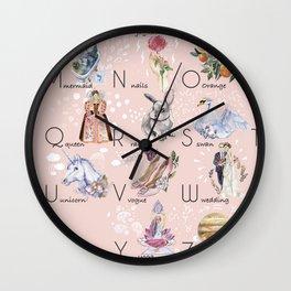 English alphabet for girls Wall Clock