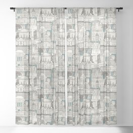 Washington DC toile juniper Sheer Curtain