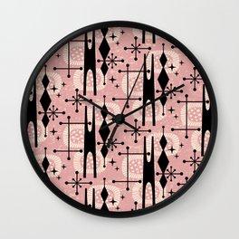 Retro Atomic Mid Century Pattern 771 Dusty Rose Wall Clock