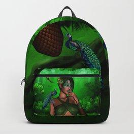 Wonderful fairy with peacocks Backpack