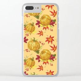 Ocher autumn pattern Clear iPhone Case
