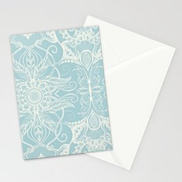 Floral Pattern in Duck Egg Blue & Cream Stationery Cards