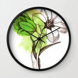 Green Watercolor Flower  Wall Clock