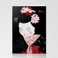 geisha Stationery Cards featuring Geisha by Maripili