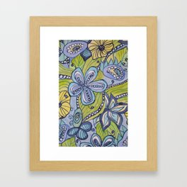 Turquoise, Yellow, and Green Floral Framed Art Print