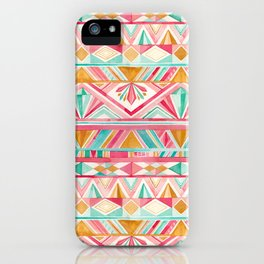 Spring Gems // Pink Gold and Turquoise Geometric Pattern iPhone Case