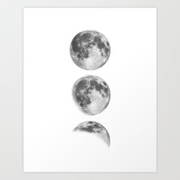 Full Moon cycle black-white photography print new lunar eclipse poster bedroom home wall decor Art Print