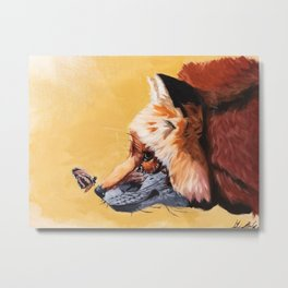 Fox with butterfly Metal Print