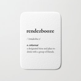 Rendezbooze black and white contemporary minimalism typography design home wall decor bedroom Bath Mat