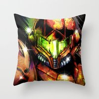 samus Throw Pillows featuring Samus by Vincent Vernacatola