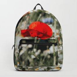 Common Poppy In Flower Bed Art Print | Nature Photography | Papaver Rhoeas  Backpack
