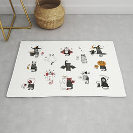 Horror Cats and mouses. Cute witch, vampire, angel and demon Rug