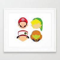 nintendo Framed Art Prints featuring Nintendo Greats by MoleFole