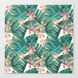 Tropical leaves and flowers on white Canvas Print