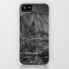 Valley View B & W 6656 - Yosemite National Park, CA iPhone Case