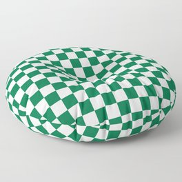 White and Cadmium Green Checkerboard Floor Pillow