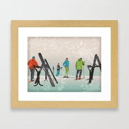 Skiers Summit Framed Art Print