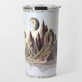 THREE PYRAMIDS, TWO MOONS, ONE ISLAND, VINTAGE PEN AND PENCIL DRAWING Travel Mug