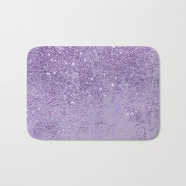 Modern elegant lavender lilac glitter marble Bath Mat