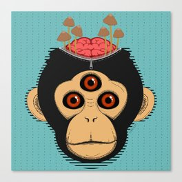 3rd Eye Chimp & Psychedelic Mushrooms Canvas Print