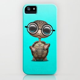 Cute Nerdy Turtle Wearing Glasses iPhone Case