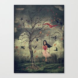 Girl on a swing in the woods Canvas Print
