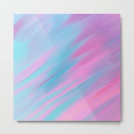 Abstract modern pastel pink lilac teal watercolor brushstrokes Metal Print