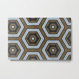 Black & Gold Geometric Pattern Metal Print