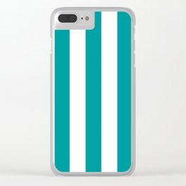 Viridian green blue - solid color - white vertical lines pattern Clear iPhone Case