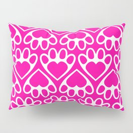 Paw Prints on my Heart - in Magenta Pillow Sham