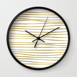 Small simply uneven luxury gold glitter stripes on clear white - horizontal pattern Wall Clock