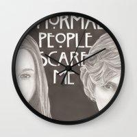 kris tate Wall Clocks featuring Violet & Tate by JadeJonesArt