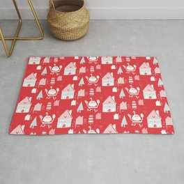 Santa is in Town Red #Holiday #Christmas Rug