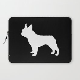Boston Terrier black and white silhouette minimal pet portrait dog silhouettes Laptop Sleeve