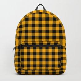 Original Goldenrod Yellow and Black Rustic Cowboy Cabin Buffalo Check Backpack