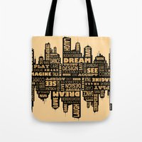 motivational Tote Bags featuring Motivational by Andreea Red