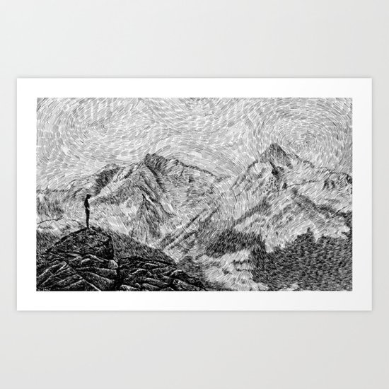 Child on the rock - Black ink Art Print
