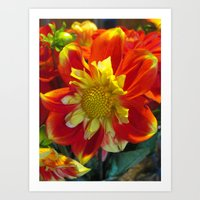Red Yellow Flower Surprise Art Print