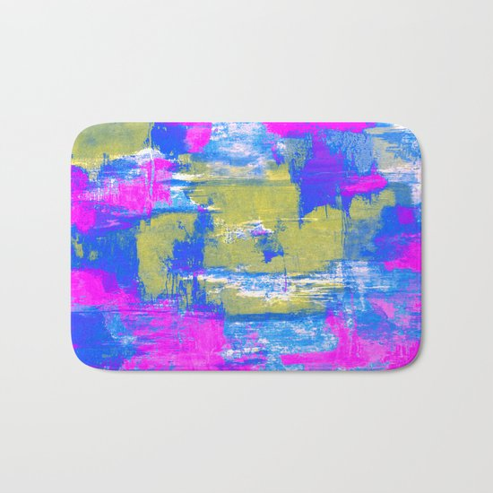 Just Relax - Abstract, pink, blue and yellow painting Bath Mat
