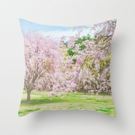 cherry blossoms blooming in a fantastic garden Throw Pillow