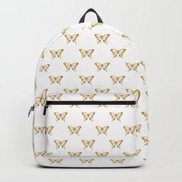 Metallic Gold Foil Butterflies on White Backpack