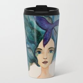 Watercolor Mermaid Blue Green Hair Travel Mug