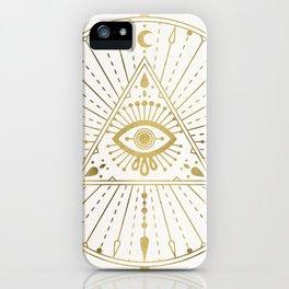 All-Seeing Eye Mandala – Gold Palette iPhone Case