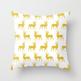 Mid Century Modern Deer Pattern Mustard Yellow 3 Throw Pillow