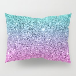 Pink and turquoise glitter ombre Pillow Sham