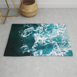 Blue Wave Network – Minimalist Oceanscape Photography Rug