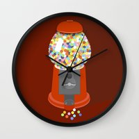 gumball Wall Clocks featuring Gumball Machine by Haley Jo Phoenix